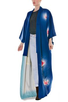 c5f5614987 Striding into the weekend in this blue silk kimono robe  mood