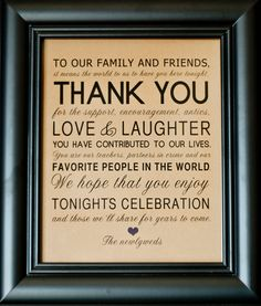 Thank You Wedding Reception Sign for Family and Friends - 8 x 10 Printed Sign