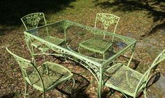 VINTAGE WOODARD WROUGHT IRON TABLE WITH FOUR CHAIRS FLORAL #Woodard   This is our new wrought iron set from Woodard And Sons. WONDERFUL