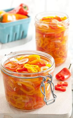 Pickled Sweet Peppers Recipe - Taste of the South Magazine. I like this on my homemade club sandwiches. Pickled Sweet Peppers, Stuffed Sweet Peppers, Pickled Fruit, Pickled Tomatoes, Pickled Eggs, Pickled Red Onions, Canning Pickles, Chutneys, Canning Recipes