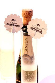 Cute idea!    Champagne Wine Glass Scalloped Wedding Name Cards Tags  // Escort Cards // Kraft Eco. $25.00, via Etsy.
