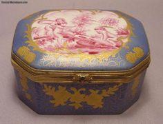 Antique Sevres Porcelain Gilt Metal Box With Cherubs