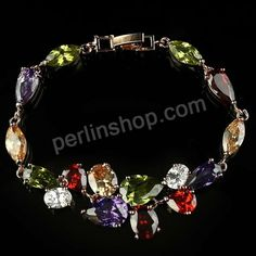 Messing-Armbänder, platiniert, mit kubischem Zirkonia, frei von Nickel, Blei & Kadmium, 2cm,1.2cm, Länge:ca. 7.5 Inch1, 3Stränge/Gruppe, verkauft von Gruppe - perlinshop.com