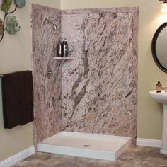 FlexStone Elegance Shower Kit at Menards Shower Surround, Elegant, Paneling, Bathroom Wall, Menards, Shower Tub, Printed Shower Curtain, Marble Effect, Bathroom Wall Panels