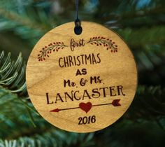 Mr and Mrs Ornament, Our First Christmas Together Wooden Tree Decor Gift by kitchenniche on Etsy https://www.etsy.com/listing/479714506/mr-and-mrs-ornament-our-first-christmas