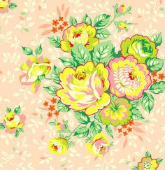 """quote: """"Heather Bailey - Pop Garden and Bijoux - Rose Bouquet in Peach"""" Garden Rose Bouquet, Pink Rose Bouquet, Heather Bailey, Textile Patterns, Textiles, Floral Patterns, Fabulous Fabrics, Cool Fabric, Upcycled Vintage"""