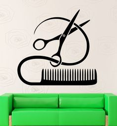 Barber Tools Wall Stickers Hairstyle Hair by Wallstickers4you