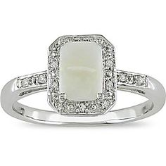 @Overstock - Opal and diamond ring10-karat white gold jewelryClick here for ring sizing guidehttp://www.overstock.com/Jewelry-Watches/10k-White-Gold-Opal-and-Diamond-Accent-Ring/4023918/product.html?CID=214117 $159.99