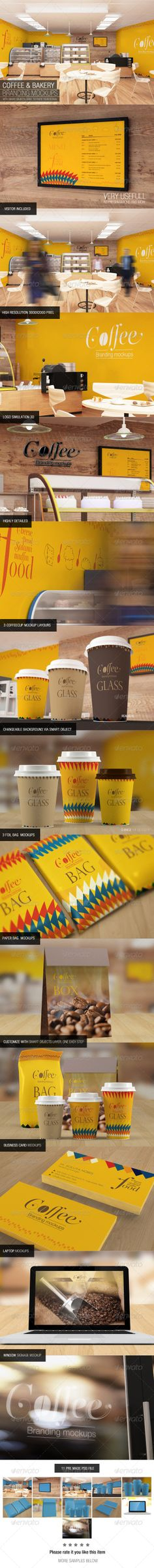 With smart objects, easy to paste your design 11 Pre made psd file Visitor Included Logo Simulation 3D High resolution 3000×2000 pixel (300dpi) Highly detailed texture Reflection of the artwork on the wall, coffee cups and the panel 3 Coffee cup mockup layouts Change the lid color Realistic dept of field 3 Foil bag mockup Business card mockup Laptop mockup Window signage mockup Changeable background via smart object Included help file