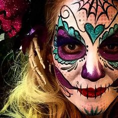 Halloween Sugar Skull I painted in a 20 min time lapse fro Global morning news on Halloween morning 2014!