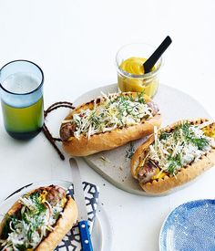 Australian Gourmet Traveller fast recipe for pork sausages with caraway seed, cabbage and apple slaw. Slaw Recipes, Pork Recipes, Gourmet Recipes, Panini Recipes, Vegetarian Recipes, Sausage Sandwiches, Grilled Sausage, Grilled Pork, Apple Slaw