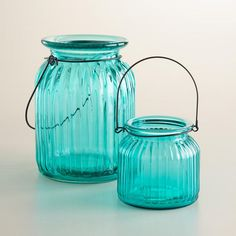 One of my favorite discoveries at WorldMarket.com: Teal Ribbed Glass Lantern Candleholders