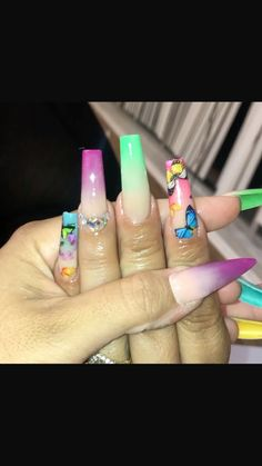 Colourful Acrylic Nails, Acrylic Nails Coffin Pink, Cute Acrylic Nail Designs, Square Acrylic Nails, Summer Acrylic Nails, Coffin Nails, Summer Nails, Gel Nails, Nail Polish