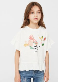 Decorative appliqué t-shirt -  Kids   MANGO Kids United Kingdom