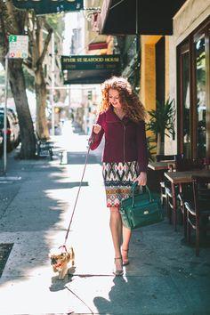 Pencil skirt, maroon jacket, green lady handbag