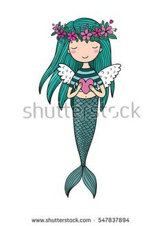 Cute little mermaid with wings. Siren. Sea theme. isolated objects on white background. Vector illustration.