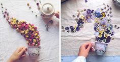 In her enchanting Floral Tea Story series, Marina Malinovaya arranges flowers and leaves in a whimsical way to create a unique collection of teacup flowers.
