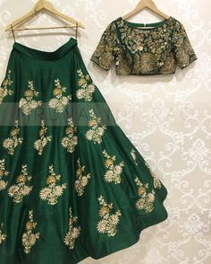 Stylist Green embroidered Wedding lehengaFeaturing a green blouse in art silk with silver gold embroidery and it comes along with green lehenga in art silk. It is paired with greenish off white embroidered with butti work dupatta base on net. Lehnga Dress, Lehenga Choli, Sari, Bridal Lehenga, Indian Lehenga, Indian Designer Outfits, Designer Dresses, Indian Dresses, Indian Outfits