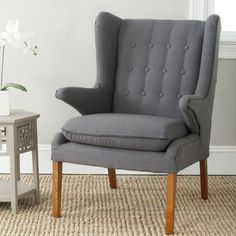Safavieh Gomer Wing Chair $385 available in grey and olive