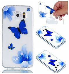 S6 Covers, Samsung S6 Case - Samsung Galaxy S6 Transparent Case, Cozy Hut TPU Clear Soft Silicone Back Colorful Printed Fashion Flower Pattern Silicone Case Protective Cover Cell Phone Case for Samsung Galaxy S6 Bumper Case [Ultra Slim], Flexible Soft TPU [Drop Protection+Shock Absorption+Anti-Scratch] Protective Case Cover for Samsung Galaxy S6 - Blue butterfly flower