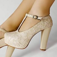 Kvoll  Lace Overlay T-Strap Platform Pumps, I Don't Like Thick Heels, But I Would Wear These.