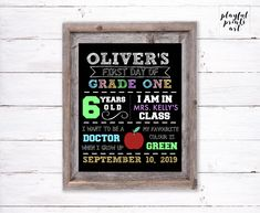 Personalized First Day of School Print, 8x10, Digital Download, Printable by playfulprintsart on Etsy Teacher Name, Childrens Room Decor, Has Gone, One Day, Quote Prints, First Day Of School, Rustic Christmas, Kid Names, Order Prints