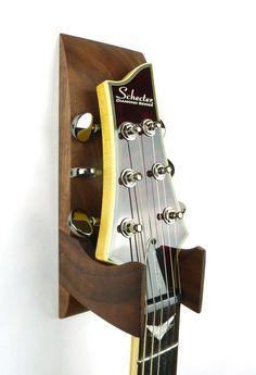 Walnut Wall Mounted Guitar Hanger by BoardandBlade on Etsy
