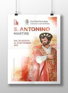 S. Antonino Martire è Patrono di Monte Porzio Catone, paese in provincia di Roma. La proloco che organizza i vari eventi ci ha affidato il compito di realizzare i materiali pubblicitari, manifesti, flyer e brochure