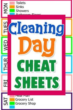 Cleaning Day Cheat Sheets and Checklists to keep your house clean. Simple daily chores to keep your house clean. Weekly cleaning schedule with what to clean each day of the week for a clean house. Monthly Cleaning Schedule, Clean House Schedule, Weekly Cleaning, Cleaning Day, Cleaning Checklist, House Cleaning Tips, Spring Cleaning, Getting Organized At Home, Household Notebook