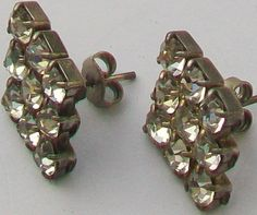 A pair of vintage sparkling faceted crystal pastes cluster earrings set on silver tone metal Stylish diamond shape Posts for pierced ears Measurement Vintage Wedding Jewelry, Cluster Earrings, Faceted Crystal, Vintage Diamond, Diamond Shapes, Ear Piercings, Earring Set, Ears, Sparkle