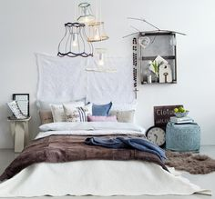 pretty bedroom + naked lampshades