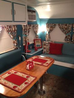 Bright colors - a good alternative to the stained birch found in most vintage campers.