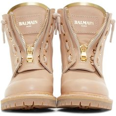 Balmain Tan Leather Taiga Ranger Boots ($1,010) ❤ liked on Polyvore featuring shoes, boots, balmain, zapatos, lacing boots, laced up boots, round toe boots, tan leather shoes and tan boots