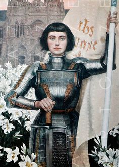 Joan of Arc - Led an army, saved a people, died stoically, sainted rightfully. ┆ Ste Jeanne d Arc ┆ More christians pins in my boards Joan D Arc, Saint Joan Of Arc, St Joan, Joan Of Arc Death, Catholic Art, Religious Art, Women In History, Art History, History Icon