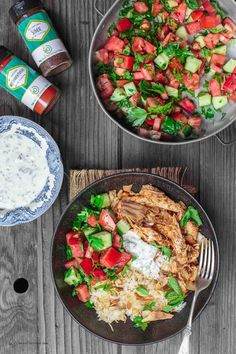 Lebanese Chicken Fatteh Dinner Bowls | The Mediterranean Dish. Flavor-packed Lebanese chicken recipe with toasted pita, rice and a simple Mediterranean salad all in one bowl. Topped with mint yogurt sauce and toasted nuts! Check out the full recipe on TheMediterraneanDish.com
