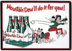 The original formula of Mountain Dew was invented in the 1940s as a mixer for hard liquor by Tennessee beverage bottlers Barney and Ally Hartman. A revised formula   was created in 1958. The Mountain Dew brand and production rights were acquired   by the Pepsi-Cola company in 1964 and distribution expanded more widely across   the U.S.