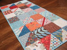 Quilted Table Runner using Family Tree Fabric and original pattern Fall Charmer handmade by me