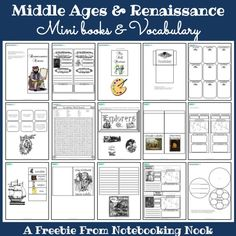 Middle Ages and Renaissance Mini-Books and Vocabulary free printables