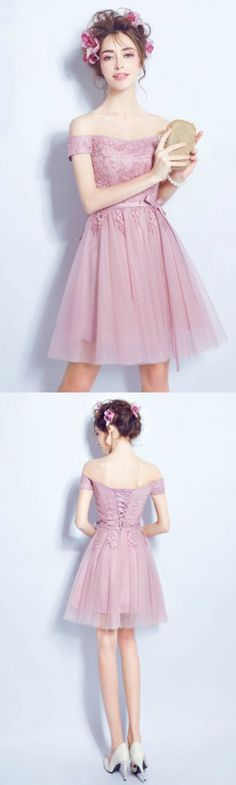 Cute A-line Off-the-shoulder Short Tulle Formal Dress Homecoming Dress Prom Dress With Appliques Lace