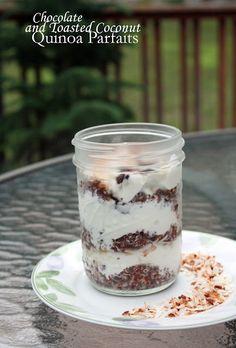 Chocolate and toasted coconut quinoa parfaits