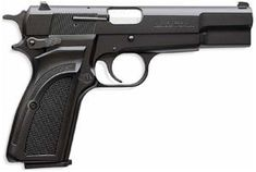 Commercial Browning Hi Power Mark III - 9x19mm. The Nambutu ambassador (Valentine Nonyela) keeps a Browning Hi-Power Mark III in his drawer which Bond takes and uses to dispatch a few enemies. When the ambassador comes down to confront him, Bond engages the safety, then drops it.