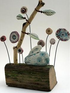Woodland Rabbit by Shirley Vauvelle, Sculpture, Earthenware driftwood Clay Projects, Clay Crafts, Projects To Try, Driftwood Sculpture, Sculpture Art, Ceramic Animals, Ceramic Art, Creta, Paperclay