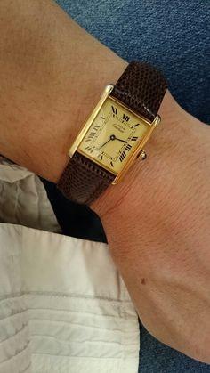 Must de Cartier Tank Vermeil Quartz Lizard Watchband 1980 (foto Tonton)