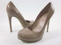 ALEJANDRO INGELMO Beige Patent Leather Pumps Heels Shoes Sz 40 10 at www.ShopLindasStuff.com