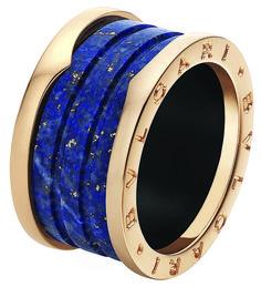 Bulgari pink gold & lapis lazuli marble ring