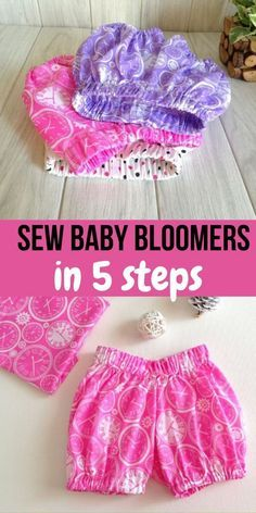 Easy Baby Bloomers in 5 Steps (Simple Sewing Project) - Sew Crafty Me Baby Bloomers Pattern, Baby Girl Dress Patterns, Baby Clothes Patterns, Baby Patterns, Skirt Patterns, Coat Patterns, Blouse Patterns, Baby Dress Pattern Free, Baby Dress Tutorials