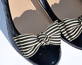 """Black and Cream """"Krissy"""" Bow Shoe Clips...Cream and Black Bow Shoe Clips... Bow Tie Shoe Clips...Striped Bow Shoe Clips"""