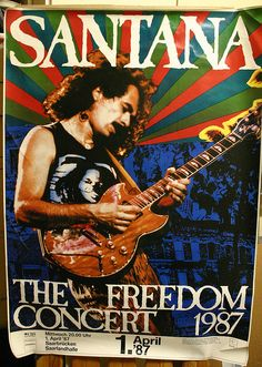 Santana 'The Freedom Concert' poster, Woodstock, Pop Posters, Band Posters, Retro Posters, Pop Rock, Rock And Roll, Concert Rock, Santana Concert, Vintage Concert Posters