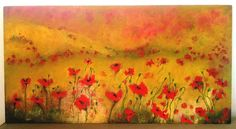 """ field of poppies "" 2016, oil on wood, 49 x 86 cm"