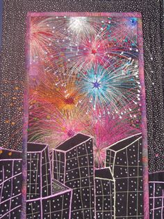 Helen Marshall - Students' Gallery of quilts and artwork- I love the idea of adding fireworks to sky for cityscape
